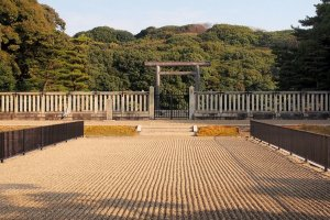 The gates to the Tumulus of Emperor Nintoku at Mozu Daisenryo Kofun tomb.