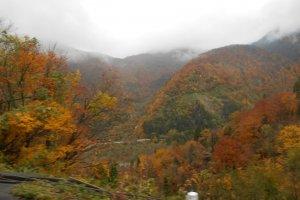 ภาพตอนล่างของภูเขาทาเทที่ให้บรรยากาศแบบฤดูใบไม้ร่วง
