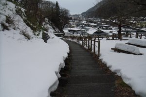 The view from the steps is rather beautiful; you can understand why Basho was moved to write poetry about Yamadera.