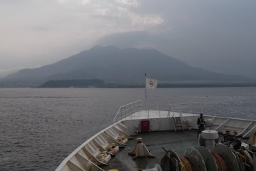 <p>The view of Sakurajima as we headed out of port</p>