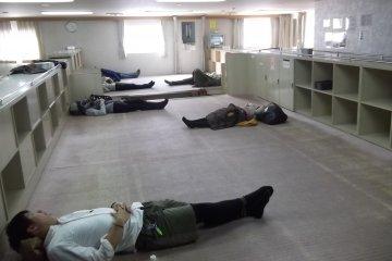 <p>Lying down during the passage through rough seas</p>