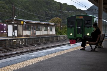 <p>A train is approaching Arita station. Not my train yet.</p>
