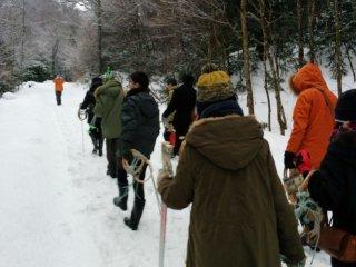 Chuyến đi của chúng tôi tiếp tục xuyên qua những cảnh quan tuyết phủ.