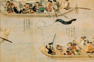 ภาพวาดยุทธนาวีที่อ่าวฮากาตะ ซามูไรใช้เรือและแพเท่าที่จะหาได้ ออกไปปะทะกับกองทัพเรือมองโกล