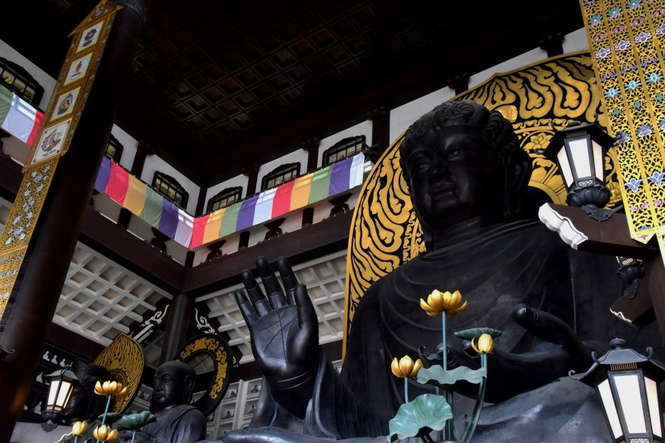 Looking up at a 17 meter high Echizen Daibutsu, which is about 2 meter higher than a Big Buddha of Todai-ji Temple in Nara and is Japan's highest Buddha statue in a sitting position.